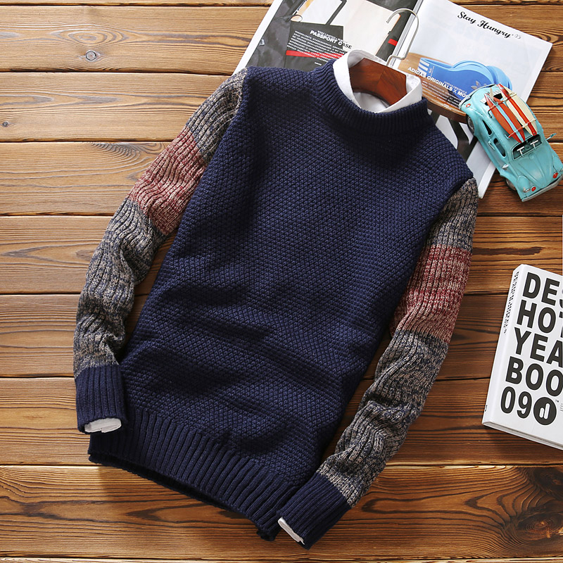 2019 Male Autumn Winter Sweater Pullovers Jumper Men's O-Neck Mixed Color Fashion Youth Teens Trend New Long Sleeve Sweaters