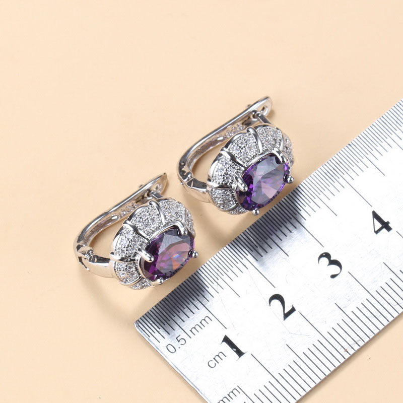 Bridal Jewelry Sets 925 Sterling Silver Purple Natural Stone Crystal Clip Earrings And Necklace Ring Wedding Accessories Sets CLOVER JEWELLERY