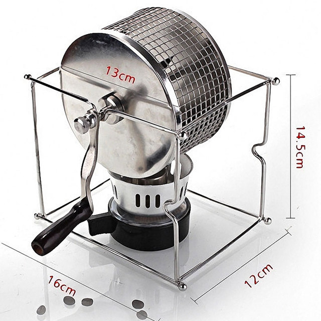 Home Hand-drying Bean Machine Manual Coffee Bean Roasting Machine Small Stainless Steel Roller Baking Machine HB01