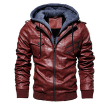 PUIMENTIUA 2019 New Mens Winter Motorcycle Leather Jacket Casual Hooded Imitation  Warm Zipper Pocket Patchwork Coats