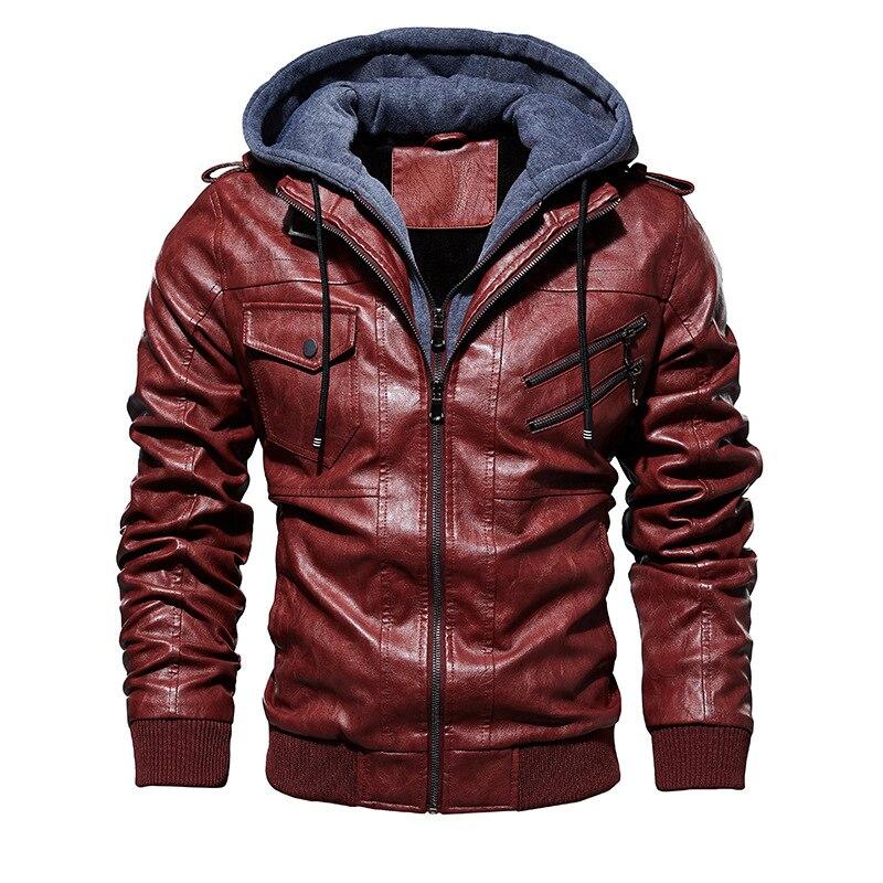 Puimentiua Men's Motorcycle Leather Jacket Winter Men's Fashion Casual Hooded Imitation Jacket Men's Warm Leather Jacket 2019