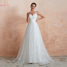 V Neck A-Line Wedding Dresses 2019 New Elegant White Ivory Sleeveless Appliques Lace Simple Long Bridal Gowns vestidos de noiva