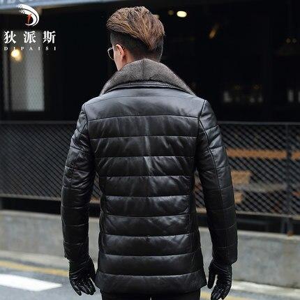Winter Geniune Leather Jacket Men Real Sheepskin Coat 2020 New Plus Size 4XL Warm Long Duck Down Male Overcoat LX1102
