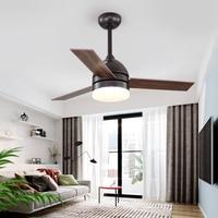 IKVVT Modern Ceiling Fan with Light Industrial Fan Light 42/48 Inch Wooden Blades Dimming Fan Lamp Ventilador De Teto AC220V