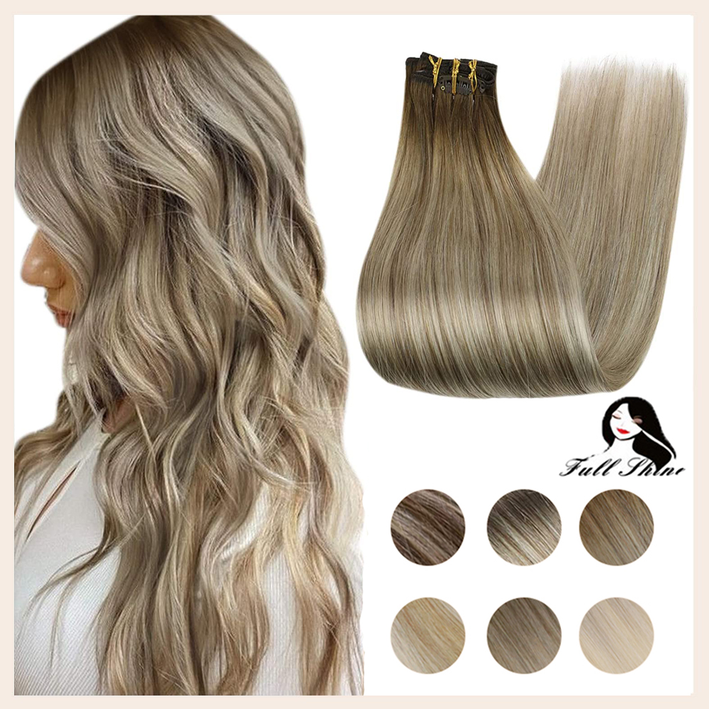 Full Shine Ombre Clip in Hair Extensions 7pcs Double Wefted Extension Blonde Ombre 100% Remy Human Hair Extensions Thick Hair