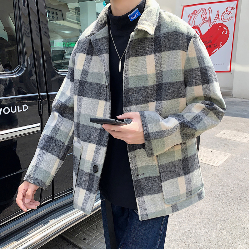 The New Lapel For Autumn And Winter Is Casual And Stylish, The Baggy Korean Plaid Single-breasted Preppy Coat For Men Hombre