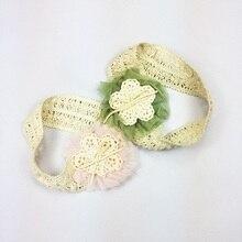 1 Pcs/lot Beauty Girls Knitting Flower Headband Mesh Voile Headbands Lace Hair Band Weave Hairbands Kids Womans