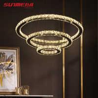 Moderna lámpara de araña de Cristal LED para sala de estar candelabros de Cristal Lustre iluminación colgante accesorios de techo