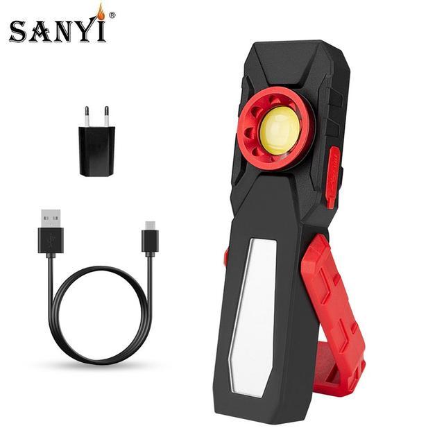 Đèn Rọi Ray COB Từ Ánh Sáng Làm Việc USB Sạc Đèn Pin Kiểm Tra Ánh Sáng Đèn Pin Tiện Dụng Di Động Đèn Lồng Có Móc Điện Di Động Ngân Hàng