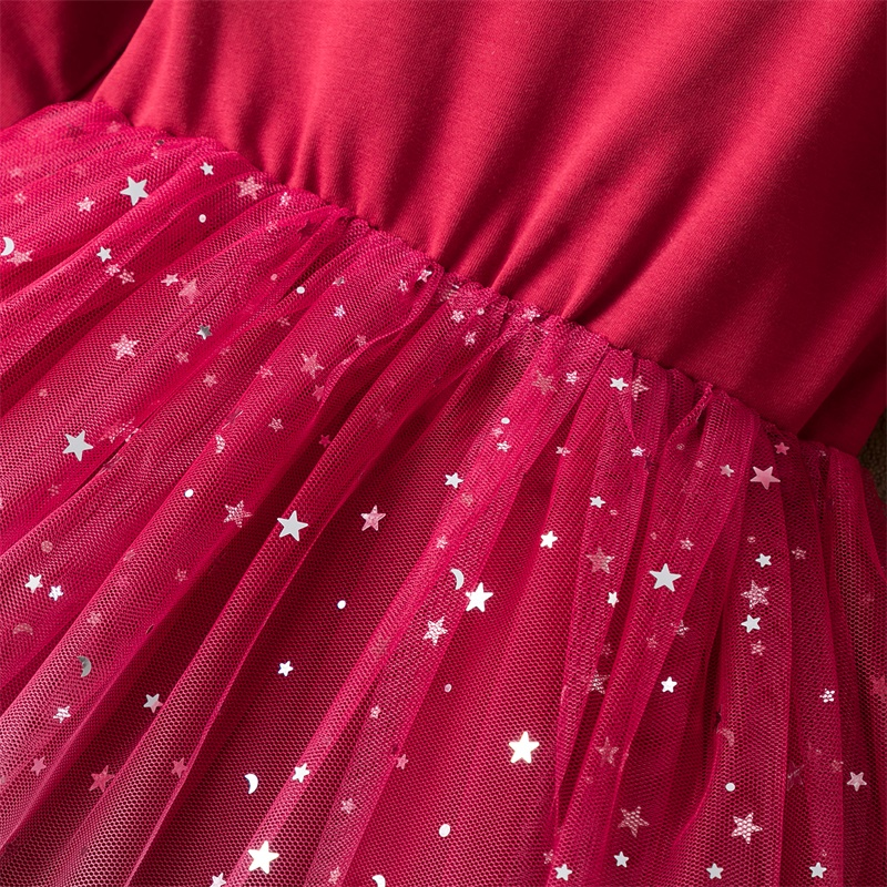 Christmas Dress For Girls Winter Long Sleeve Lace Princess Dress Children New Year Party Red Clothing Wedding Birthday Ball Gown 4