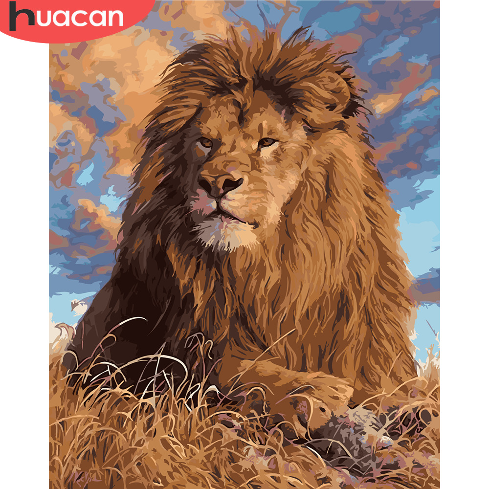 HUACAN Painting By Numbers Lion Animals Kits Pictures Drawing Canvas HandPainted DIY Oil Paint Home Decoration Gift