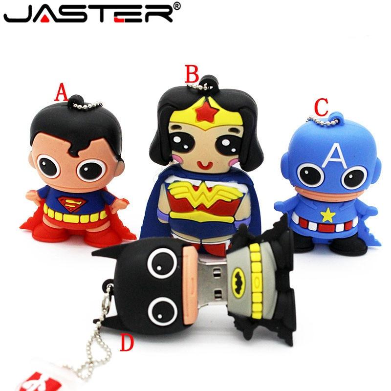 JASTER 64GB Cool New 3 Style Batman Superman 4GB 8GB 16GB 32GB Usb Flash Drive Usb 2.0 Pendrive