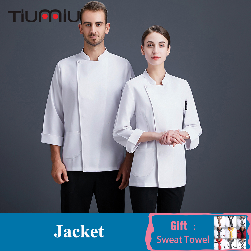 Chef Uniform Men Women Long Sleeve Solid Color Cook Jacket Food Service Top Restaurant Catering Hotel Bakery Work Clothes