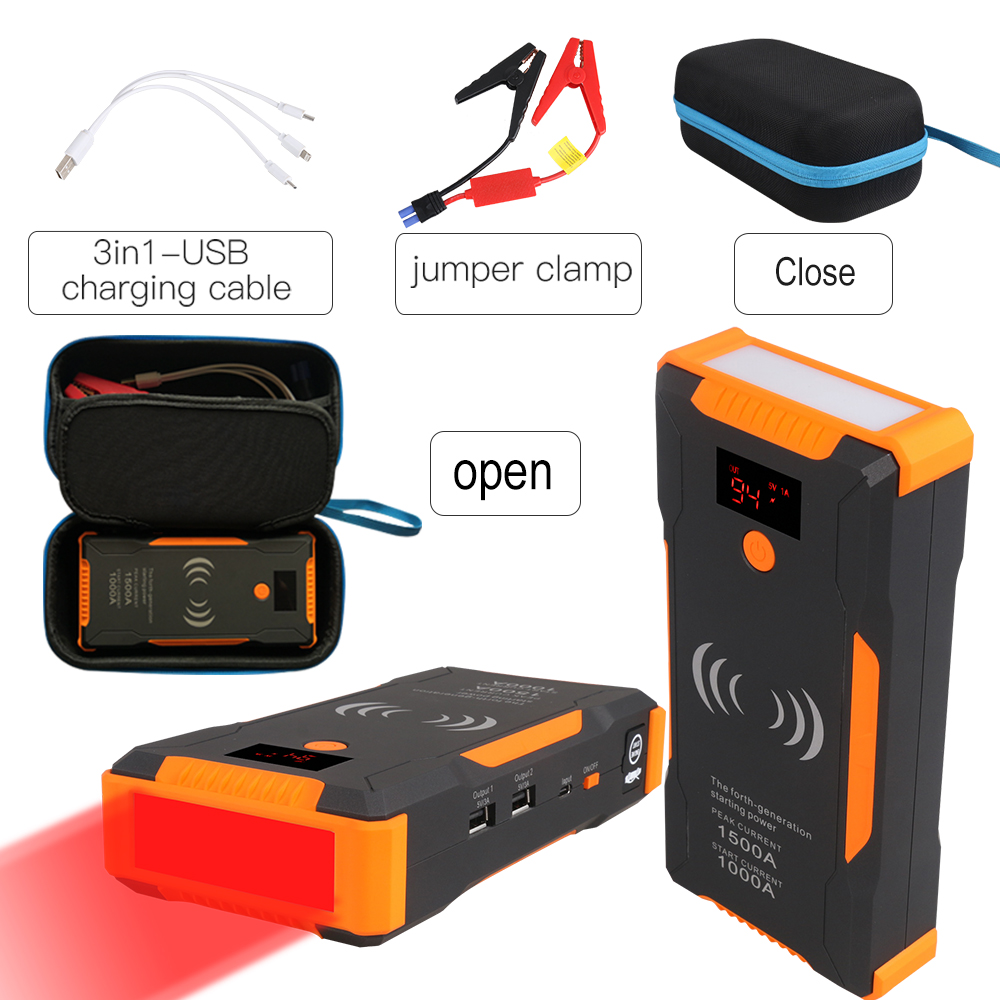 Starting Device 22000mAh Car Jump Starter With Quick Wireless Charing Emergency Car Battery Booster Charger Car Power Bank 12V
