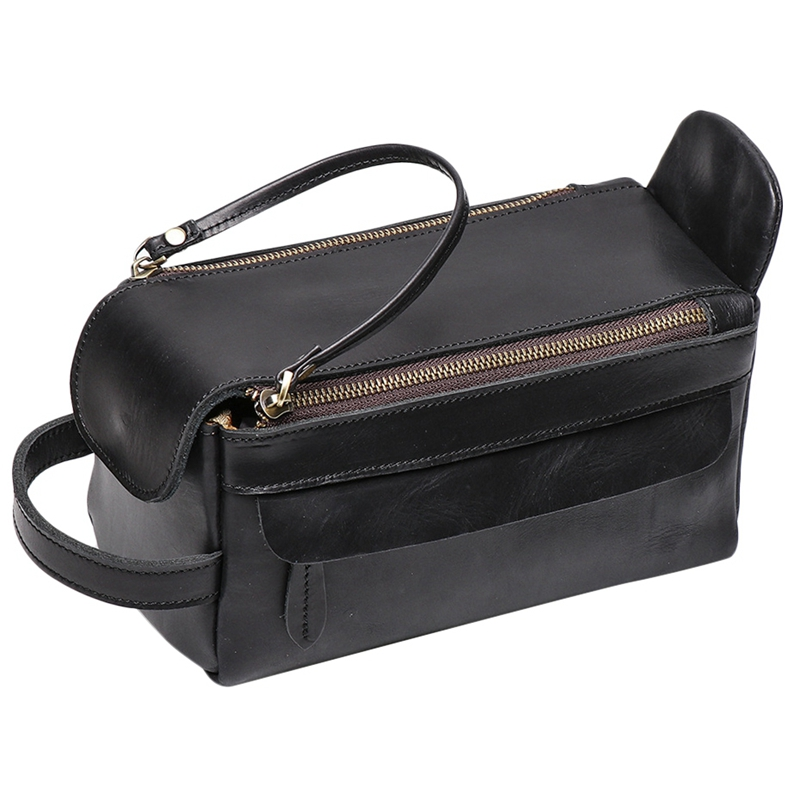 Vintage Leather Women Men Cosmetic Bag Travel Toiletry Wash Bag Make Up Bags