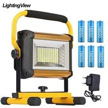100W Светодиодный Водонепроницаемый потолочные светильник на открытом воздухе отражатель светодиодный внешний проектор RGB светильник Точечный светильник Перезаряжаемые 6*18650 Батарея
