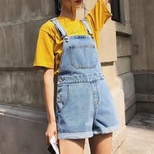 Jumpsuit Romper Shorts Summer Overalls Streetwear High-Waist Denim Girl Loose Washed