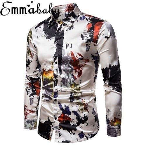 Mens Long Sleeve Blouses Floral Printed Summer Casual Tops Slim Fit Lapel Shirt