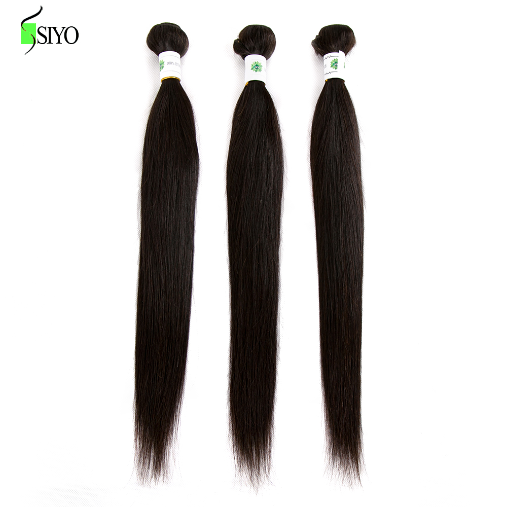 SIYO Hair Peruvian Straight Hair Bundles Natural Color Human Hair Bundles 3PC Double Weft Non Remy Hair Weave Bundles 10-26Inch