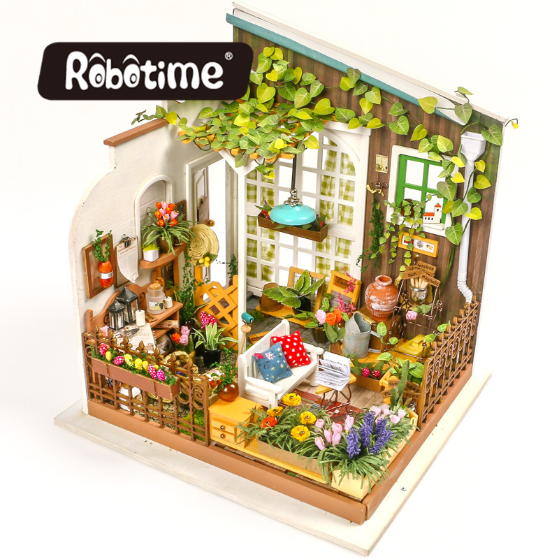 Robotime Dropshipping DIY Dollhouse Miniature with Light Doll House Furniture Wooden Dollhouse Kits Gift Toys for Children 1