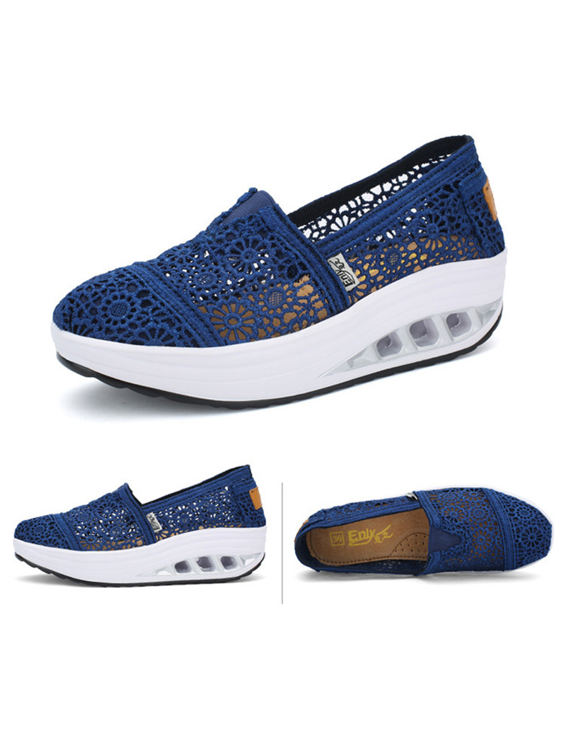New Spring Summer Hollow Canvas Shoes Women Fashion Lace Slip on Shoes for Women Breathable Platform Shoes 2020 VT750 (15)