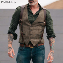 Mens Waistcoat Vests Suit Gilet Victorian-Steampunk Gentleman Slim-Fit Wedding Groomman