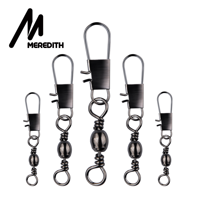 Meredith 50Pcs/Lot Fishing Connector Pin Bearing Rolling Swivel Stainless Steel With Snap Fishhook Lure Tackle Accessorie