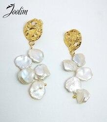 Joolim High End Gold Finish Gorgeous Fresh Water Pearl Chandlier Earring Statement Earring Brass Earring