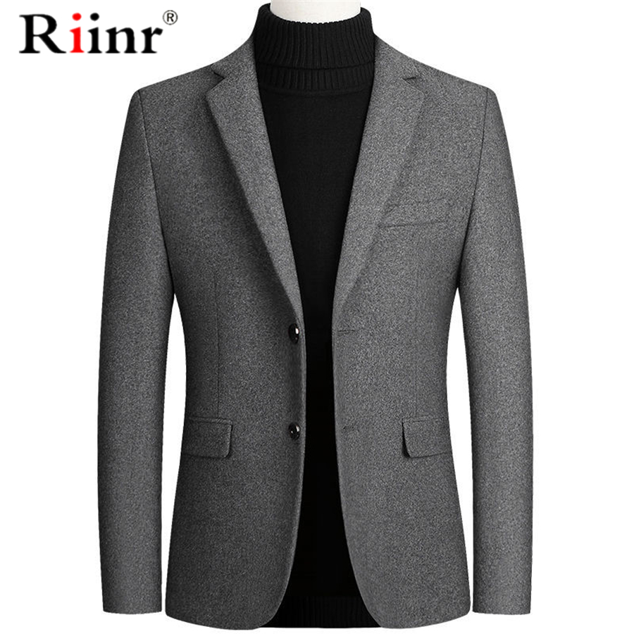 Riinr Brand Men Wool Blends Suit Autumn Winter New Solid Color High Quality Men's Wool Suit Luxurious Wool Blends Suit Male 1