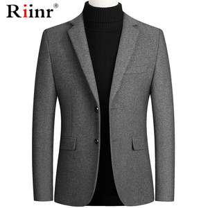 Riinr Brand Men Wool Blends Suit Autumn Winter New Solid Color High Quality Men's Wool Suit Luxurious Wool Blends Suit Male