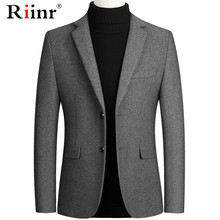 Riinr Brand Men Wool Blends Suit Autumn Winter New Solid Color High Quality Men's Wool Suit Luxurious Wool Blends Suit Male(China)