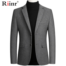 Riinr Brand Men Wool Blends Suit Autumn Winter New Solid Color High Quality Men'
