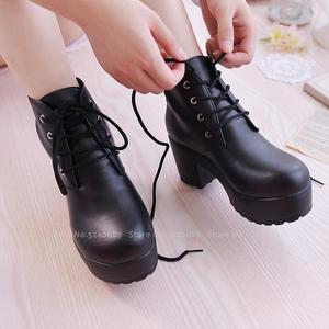 Image 5 - Women Anime Cosplay Round Head High Heel JK Uniform Japanese Students Leather Boots Party Dance Lolita Royal Sister Martin Shoes