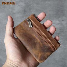 PNDME thin genuine leather coin purse mini men women simple retro cowhide zipper small key wallets ID Holders credit cards