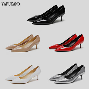 5 Cm Mid Heels Womens Shoes Patent Leather High Heels Sexy Nude Pointed Toe Thin Heels Office Shoes Wedding Pumps Size 34-43
