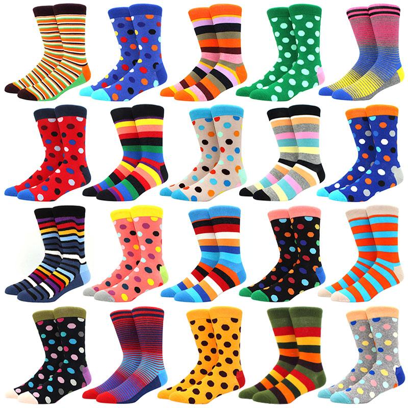 1 pair men socks combed cotton bright colored funny socks men's calf crew socks for business causal dress wedding gift sok