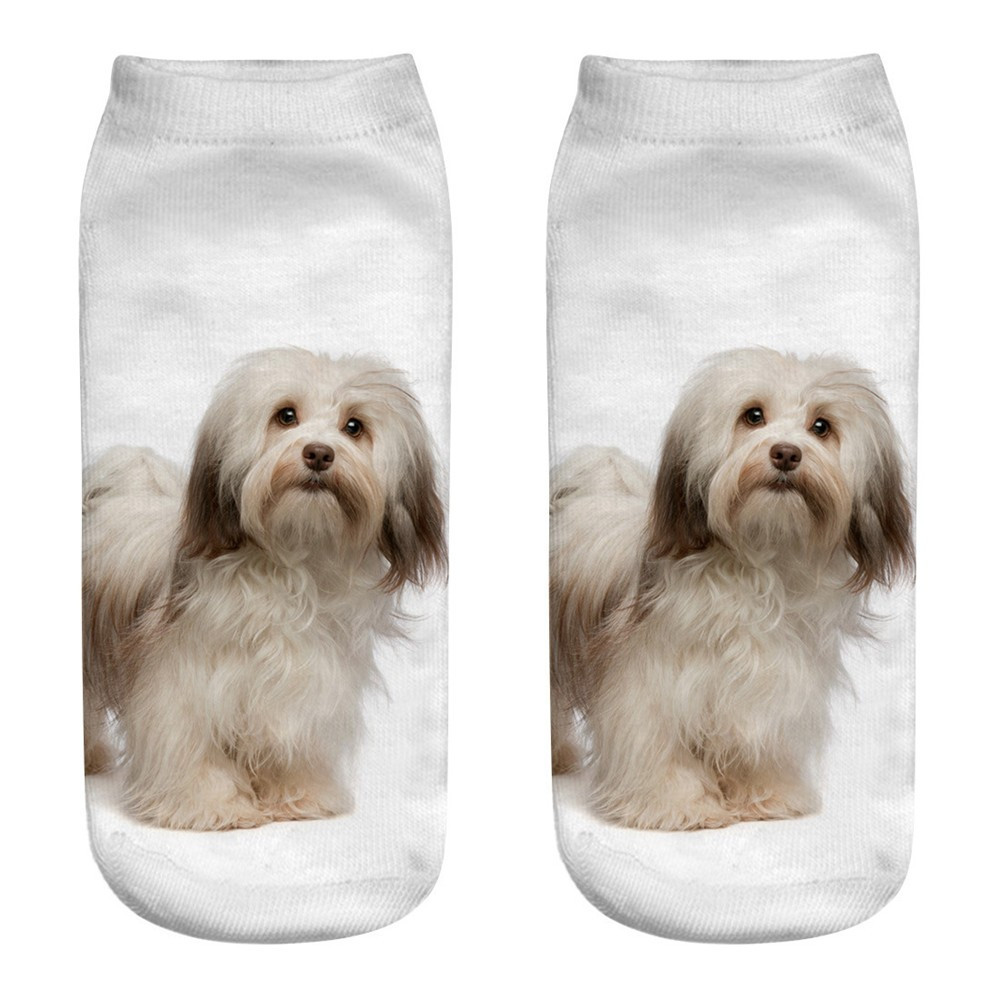 Cute Casual 3D Dog Printing Slippers Clean Comfortable Sports Socks Cartoon Pictures Great Gift Festive Short Ankle Socks