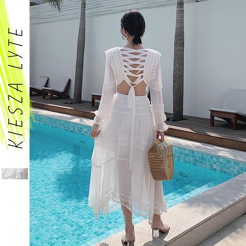 Женское летнее платье, сексуальное шифоновое платье с длинным рукавом, открытое Бандажное платье с рюшами на спине, Белое Женское платье фе...