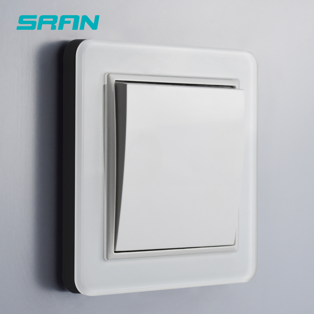 SRAN EU standard 3gang 1way wall light switch 2.5D curved tempered glass panel for home decoration use 83*83mm(China)