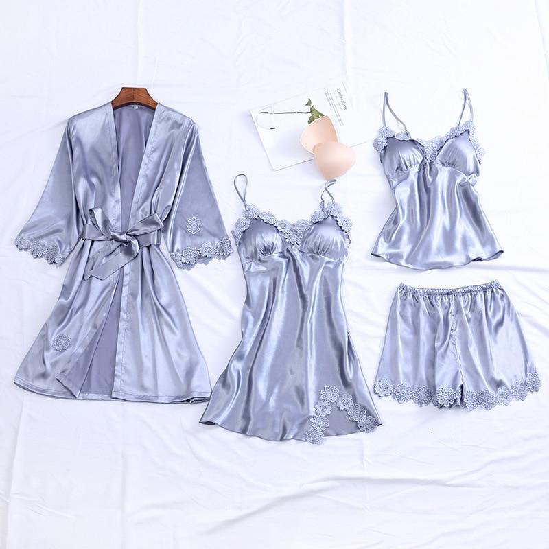 Gray Women Sexy 4PCS Robe Suit Spring New Loose Kimono Bathrobe Gown Loose Casual Bride Bridesmaid Wedding Sleepwear Nightgown