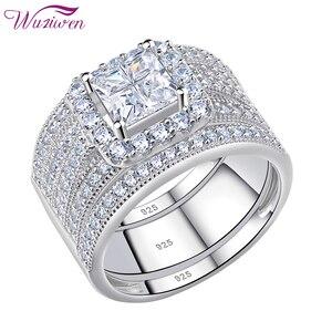 Image 2 - Wuziwen Halo חתונת טבעת סט לנשים 3Pcs מודגש 925 סטרלינג כסף אירוסין טבעות צלב נסיכה לחתוך זירקון קלאסי תכשיטים