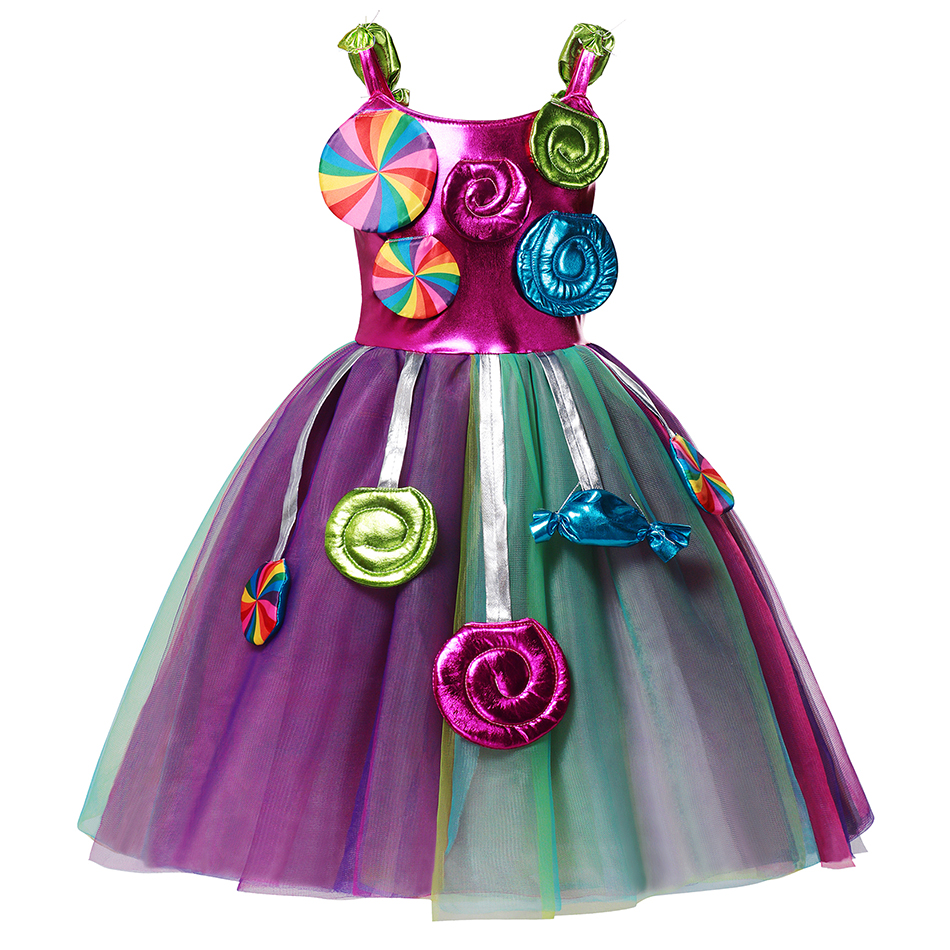 AEMUAKIDS Candy Color Tulle Dress for Girl Halloween Party Kids Cosplay Costume Little Girl Floral Casual Dresses 4