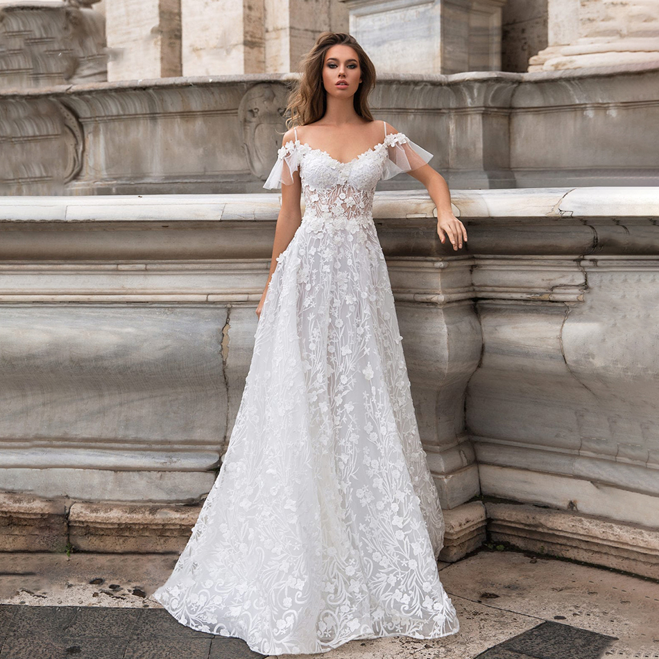 New Wedding Dresses 2020 A-line Sweetheart Bridal Gown Lace Appliques Ball Gown Short Sleeve Backless Vestidos De Noivas