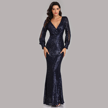 Evening Dresses Long Sequined Elegant Robe De Soiree 2019 Sexy Deep V-neck Split Formal Dress Full Sleeve Evening Gown LT008 cheap it s yiiya NONE simple REGULAR Floor-Length empire Formal Evening spandex Polyester Acrylic Trumpet Mermaid