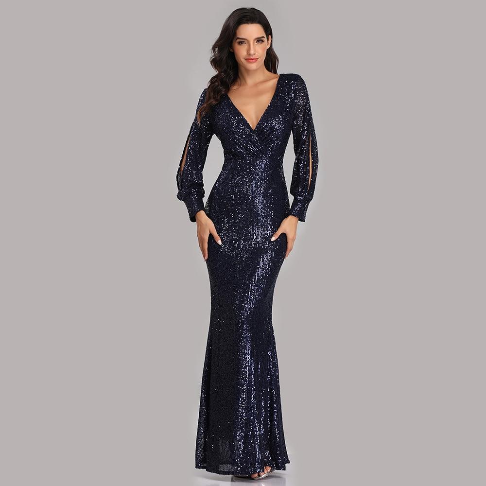 Evening Dresses Long Sequined Elegant Robe De Soiree 2019 Sexy Deep V-neck Split Formal Dress Full Sleeve Evening Gown LT008