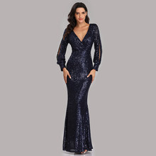 Evening Dresses Long Sequined Elegant Robe De Soiree 2019 Sexy Deep V-neck Split Formal Dress Full Sleeve Evening Gown LT008(China)
