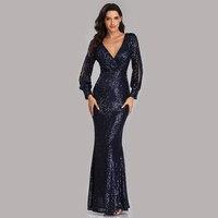Evening Dresses Long Sequined Elegant Robe De Soiree 2019 Sexy Deep V neck Split Formal Dress Full Sleeve Evening Gown LT008