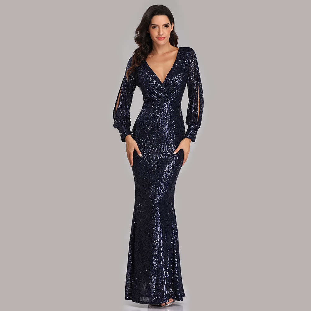 Robes De soirée longues paillettes élégant Robe De soirée 2019 Sexy profonde col en v fendu Robe formelle à manches longues Robe De soirée LT008