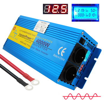 LCD Display 4000W peak pure sine wave power inverter transformer DC 12V TO AC 220 with Dual Europe Socket converter intelligent screen pure sine wave power inverter dc12v dc24v to ac220v 3000w 6000w converter with lcd display