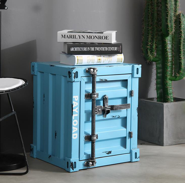 Retro Container Iron Bedside Table with Lock Storage Cabinet Bed Drawer Cabinet Safe Box тумба прикроватная mesita de noche